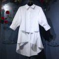 shirt White black 80-125 kg mm suitable Spring of 2018 other 96% and above elbow sleeve Sweet Medium length Polo collar bishop sleeve Solid color Straight cylinder Asymmetry Ruili
