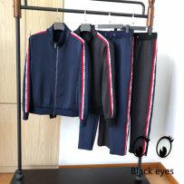 Leisure sports suit M L XL 2XL Black suit dark blue deep blue suit autumn Other / other Long sleeves trousers cotton