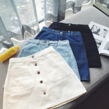 skirt Summer of 2018 Collection baby priority shipment s ml XL 2XL Dark blue light blue white dark blue black Short skirt commute High waist A-line skirt Solid color Type A 18-24 years old 51% (inclusive) - 70% (inclusive) Denim cotton Pocket button patch Korean version