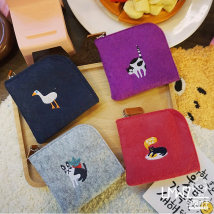wallet Coin bag cotton Other / other Purple light gray Navy watermelon red dark brown brand new Cartoon female zipper Animal design youth