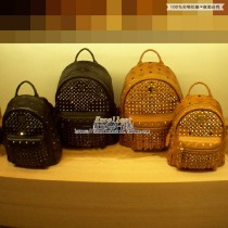 Backpack cowhide MCM Brown small black small red small pink small silver small dark pink small mini pat this color brand new Small zipper leisure time Double root Japan and South Korea soft no written words Diamond inlay top layer leather
