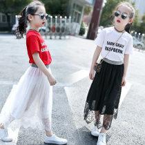skirt White skirt black skirt red T-shirt white T-shirt 100cm 110cm 120cm 130cm 140cm 150cm 160cm 170cm Other / other female Other 100% summer skirt Korean version Solid color Pleats other Lace thin skirt Class B