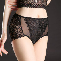 underpants female Bean paste black dark blue Average size Other / other 1 spandex Briefs High waist sexy Plants and flowers youth 81% (inclusive) - 95% (inclusive) Lace fabric No trace transparent