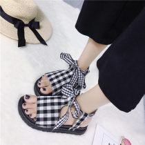 Sandals 35 36 37 38 39 40 black Other / other PU Barefoot Muffin bottom Middle heel (3-5cm) Summer of 2018 Frenulum Korean version lattice rubber daily