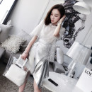 Lace / Chiffon Spring 2018 S M Flicker and white spot and white running sheet Five sleeves original design Sleeve Conventional models Single Straight