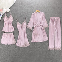 Pajamas / housewear set female Other / other M (recommended weight 80-95 kg) l (recommended weight 95-115 kg) XL (recommended weight 115-135 kg) Iced silk camisole sexy pajamas summer Thin money V-neck Solid color trousers Tether youth rubber string More than 95% silk Mosaic decoration Short skirt