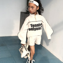 suit Other / other Light grey black 110cm. 120cm. 130cm. 140cm. 150cm. 160cm. female spring and autumn motion Long sleeve + pants 2 pieces routine There are models in the real shooting Socket nothing other Cotton blended fabric children Expression of love W9020 Cotton 85% others 15%