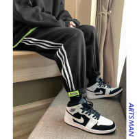sweatpants  easy M,L,XL,2XL youth trousers Youth fashion Hong Kong Chai man of literature and art <, dark grey, select the color of apricot Other leisure winter tide Plush and thicken 2020 CWX-201028-6 middle-waisted stripe