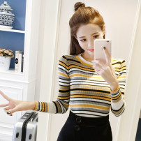 Wool knitwear Average code Fall of 2018 Colorful stripes Long sleeve Sleeve Ultra short section Single conventional sweet Self-cultivation conventional stripe Sleeve forty-two thousand five hundred and twelve JOGILVY 18-24 years old 100% other Pure electricity supplier (only online sales) College