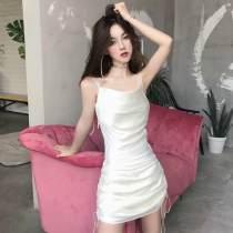 Dress Summer of 2018 White black S M Short skirt singleton  Sleeveless commute V-neck High waist Solid color zipper Pencil skirt other camisole Type X Other / other Fold frenum