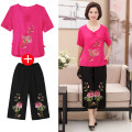 Middle aged and old women's wear Summer of 2018 XL (recommended 90-110 kg) 2XL (recommended 110-125 kg) 3XL (recommended 125-140 kg) 4XL (recommended 140-155 kg) White red green rose red Happiness suit easy Two piece set Decor 50-59 years old Socket moderate V-neck routine routine Button