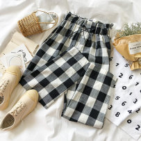 Casual pants Picture color plaid pants Average size Autumn of 2018 trousers Wide leg pants Natural waist commute routine 18-24 years old 51% (inclusive) - 70% (inclusive) 0910876 polyester fiber Korean version polyester fiber