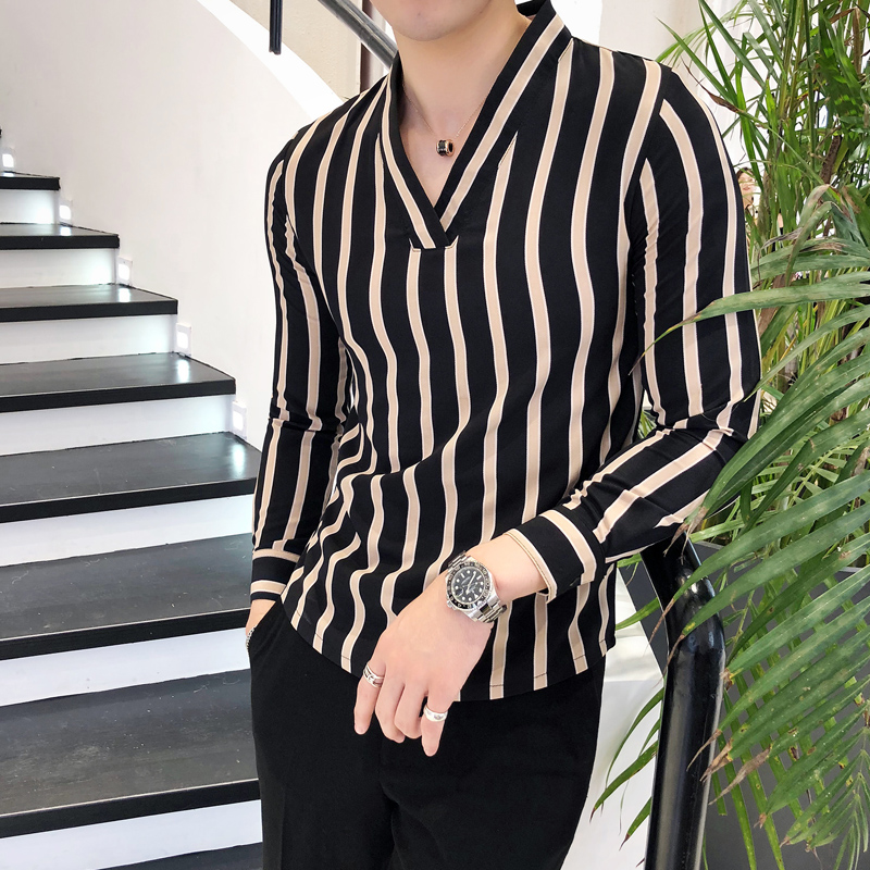 shirt Youth fashion Others M L XL 2XL 3XL Black apricot routine Long sleeves other Self cultivation Other leisure Four seasons 0830 youth Polyester 95% polyurethane elastic fiber (spandex) 5% tide 2018 stripe Color woven fabric No iron treatment other other Easy to wear
