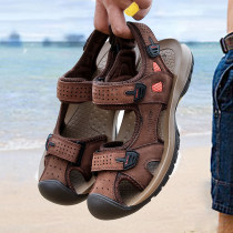 Sandals Yellow brown coffee brown khaki 38 39 40 41 42 43 44 Chengfa Cattle hide (except cattle suede) Buckles Beach shoes summer Sports & Leisure Korean version Baotou rubber ventilation Flat heel Solid color cf15633 Youth (18-40 years old) Injection pressure shoes Sewing