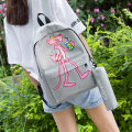 Backpack oxford Polaqi / paraqi Grey light blue black light green brand new in zipper leisure time Double root Cartoon soft youth yes Soft handle yes