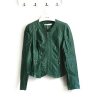 leather clothing Spring 2018 Longan yellow and dark green M L Other / other Short paragraph Self-cultivation Long sleeve zipper street Standing collar conventional M104755 zipper PU 96% and above