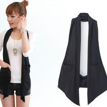 Vest Spring of 2018 Versatile black versatile grey S M L XL 2XL 3XL Medium length commute Solid color No buckle six hundred and sixty-six thousand six hundred and sixty-six Hanging neck style 18-24 years old 96% and above cotton Pocket stitching