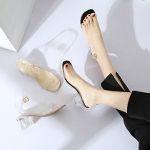 Sandals 35 36 37 38 39 BEIGE BLACK Mallard cat PU Barefoot Thick heel High heel (5-8cm) Summer of 2018 Flat buckle Korean version Solid color Adhesive shoes Youth (18-40 years old) rubber daily Thick heel Low Gang PU PU