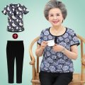 Middle aged and old women's wear Summer of 2018 4XL XL XXL XXXL Rose circle flower small broken flower leisure time suit easy Two piece set Flower and bird pattern Over 60 years old Socket thin Crew neck routine routine Button Ninth pants