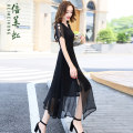 Dress Summer of 2018 SMLXLXXL Pink big red grey black green yellow black Long skirt Commuting Single Short sleeve V collar Pure color Middle waist