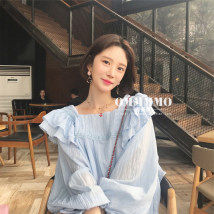 Lace / Chiffon Summer of 2018 Light blue (some in stock) S M L commute Regular square neck bishop sleeve Korean version