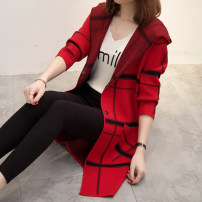 Wool knitwear Spring of 2018 SMLXL Red, dark green, rose red, grey, black Long sleeves singleton  Cardigan Medium length routine commute easy Hood routine lattice Korean version AS17C5061B You've got to go Other 100% Pure e-commerce (online only)