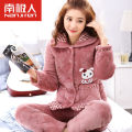 Pajamas / housewear set Female Antarctic people MLXLXXL4XLXXXL Polyester fiber (polyester) Leisure home Large lapel youth Cartoon anime Confrontation winter above 95 Long sleeve sweet Thicken 2 pieces trousers Rubber band JM10638-1 Coral fleece fabric embroidered 220g Winter 2017 Polyester 100%