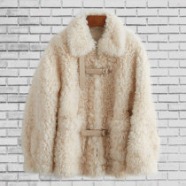 leather and fur Winter 2020 Other / other Beige Pink S,M,L,XL routine Long sleeves commute Polo collar routine zipper wool Korean version 25-29 years old zipper 96% and above