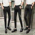 Casual pants Others Youth fashion Basic color (black, gray, white, etc.) 27 28 29 30 31 32 33 34 thin trousers Other leisure Self cultivation Micro bomb summer teenagers Exquisite Korean style 2018 Medium low back Little feet Tapered pants Assembly washing Solid color cotton Cotton brocade