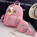 Backpack PU Other / other brand new in zipper leisure time Double root Sweet Lady  soft youth yes Soft handle Solid color Yes female Water splashing prevention other Zipper hidden bag sandwich zipper bag polyester fiber flower no 8 inches six thousand seven hundred and seventy-eight soft surface