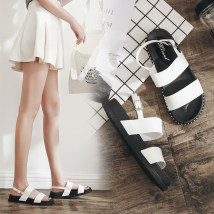 Sandals White black pink three hundred and sixty-three billion seven hundred and thirty-eight million three hundred and ninety-four thousand and forty-one Xzl / Chile plastic flat Spring 2018 Open toe Flat heel (less than or equal to 1cm) Korean version Pure color Youth (18-40 years old) daily PVC