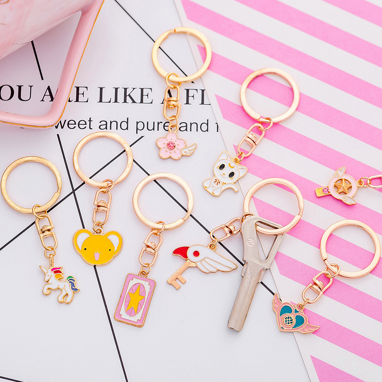 Key buckle other Wings Love Pink Unicorn wings Cherry Blossom white unicorn black kitten white kitten star magic wand pink card Pink Flamingo wings star bird key Huang Xiaoke Metal