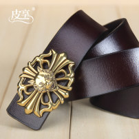 Belt / belt / chain Double skin leather Coffee + Gold Button Black + Gold Button Black + silver button male belt leisure time Single loop Youth and middle age Smooth button Glossy surface Glossy surface 3.8cm alloy alone Pixiang LU734 105cm110cm115cm120cm125cm Autumn and winter 2017