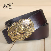 Belt / belt / chain Double skin leather Coffee gold button black silver button black gold button male belt leisure time Single loop Youth and middle age Smooth button Glossy surface Patent leather 3.8cm alloy alone Pixiang LU737 105cm110cm115cm120cm125cm Autumn and winter 2017