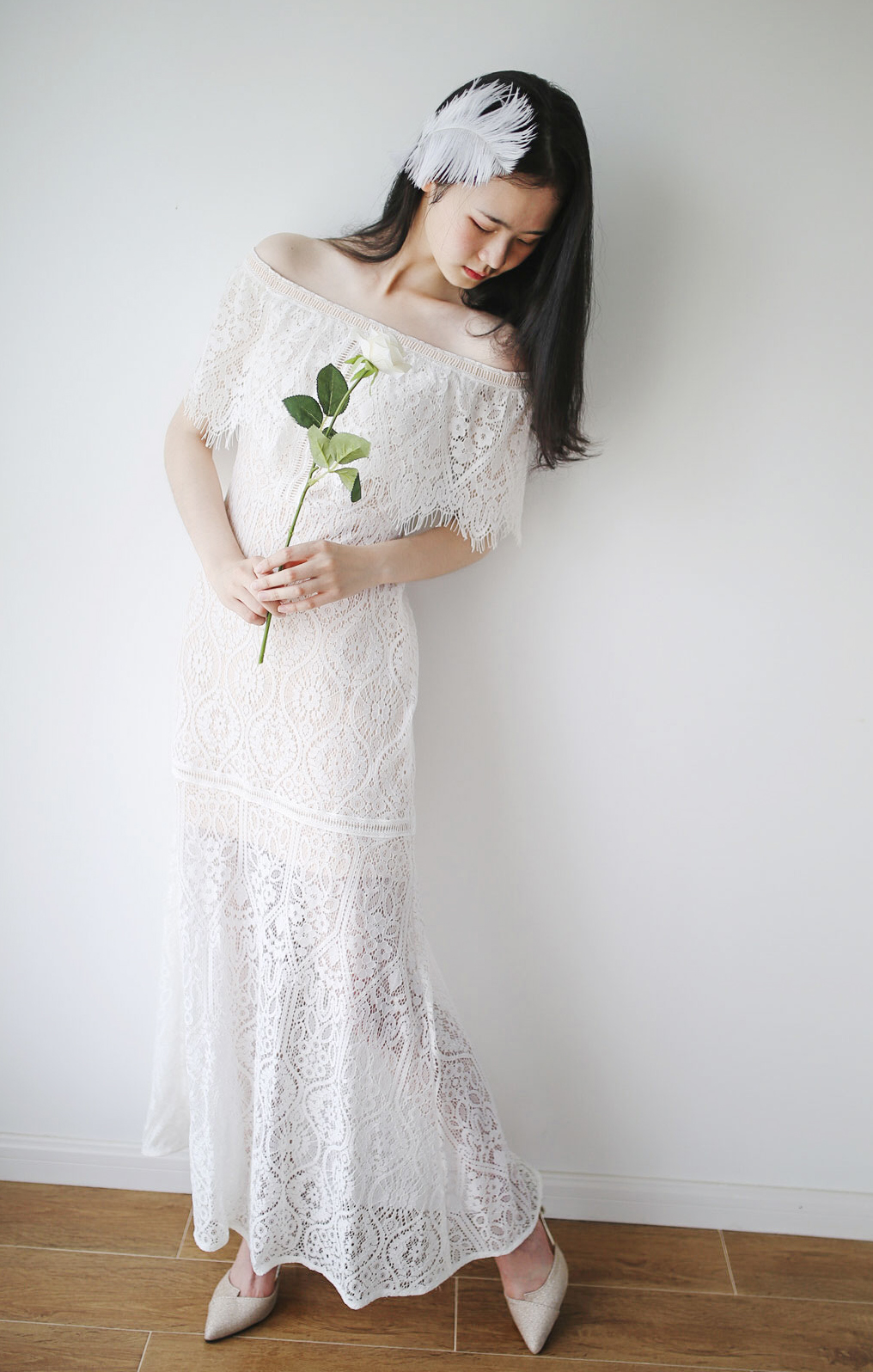 Wedding dress Winter of 2018 Nude color S M L One shoulder Lace 0304