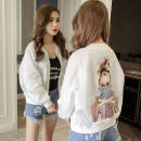 short coat Summer of 2018 (coming soon to increase price) S M L XL 2XL Long sleeve conventional Thin section Single Loose conventional Commuting Round neck zipper character Fringed ornamental bead stitching printing 3D paste cloth