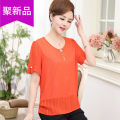 Middle aged and old women's wear Summer of 2018 XLXXLXXXLXXXXL Pink orange blue yellow fashion T-shirt easy singleton  stripe 40-49 years old Socket thin Crew neck routine routine eighteen thousand one hundred and seventy-three Xinkuan / star Other 100% Short sleeve