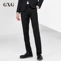 Western-style trousers GXG Business gentleman Blue stripe on black background 170/M sixty-four million one hundred and fourteen thousand four hundred and ninety-one Polyester 68.9% viscose 31.1% Winter 2016 Same model in shopping mall (sold online and offline)