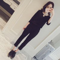 Casual suit Summer 2017 Top + pants two piece one piece top M L XL XXL XXXL 18-25 years old Other / other