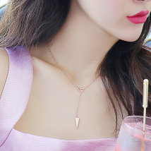 Necklace Titanium steel 101-200 yuan Only cool Long triangle Necklace brand new Japan and South Korea female goods in stock yes Fresh out of the oven 21cm (inclusive) - 50cm (inclusive) no Below 10 cm other Titanium steel other other Seven hundred and sixty-five 2016 no