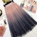 skirt Spring of 2018 Average (f) Pink gray white purple Mid length dress commute High waist Pleated skirt Type A 25-29 years old Q2215 Wufen Pleated wave screen Korean version Pure e-commerce (online only)