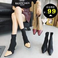 Boots 35 36 37 38 39 Apricot black pure black mesh apricot mesh Khaki PU Other / other Middle heel (3-5cm) Fine heel PU Short tube Sharp point PU PU