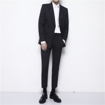 Suit Fashion City Others black L M XL 2XL 3XL routine Double slit Baling collar autumn Self cultivation Two double breasted wedding three thousand three hundred and forty-five teenagers tide Regular collar (collar width 7-9cm) 2016 stripe