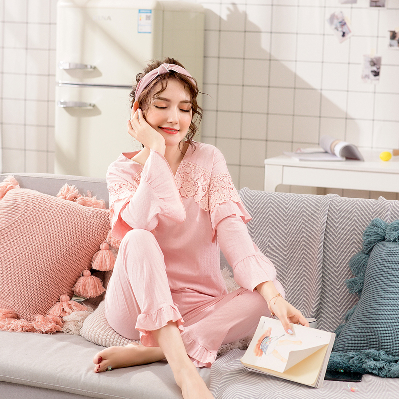 Pajamas / housewear set female Yingdi Daiqi MLXL cotton Long sleeves Sweet Leisure home autumn Thin money Crew neck trousers Socket youth 2 pieces lace