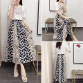 Dress Summer of 2018 White T-shirt floral skirt T-shirt + floral skirt XXL S M L XL Long skirt Commuting Two sets Short sleeve other Floral High waist other other other Other /other Vintage Type X JUL702 Bow tie stitching