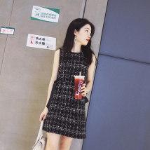 Dress Summer of 2018 S M L XL black Short skirt Commuting Single sleeveless Round neck lattice High waist Sleeve other Korean version Type H M7020M Light tweed