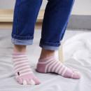 Socks / base socks / silk socks / leg socks female Other / other Average size 5 colors with light blue black light green pink lake blue 5 pairs routine Short tube spring Simplicity stripe cotton Five toe socks pinkycolor