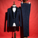Suit Business gentleman Others navy blue Please note L S M XL 2XL for trousers size routine Back middle slit Green fruit collar Four seasons Self cultivation A single breasted button wedding 1670-6 youth Business Casual Regular collar (collar width 7-9cm) 2017 camouflage Splicing polyester fiber