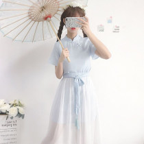 Dress Summer of 2018 Light blue dress and skirt XXS pre sale s M L Middle-skirt Two piece set Short sleeve Sweet High waist Solid color Socket Others