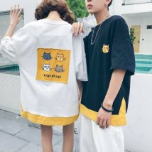 T-shirt Youth fashion White black routine S M L XL 2XL 3XL Others Short sleeve Crew neck easy Other leisure summer Cotton 100% Couples dress routine like a breath of fresh air 2018 Animal design Sticking cloth Animal design No iron treatment Non brand